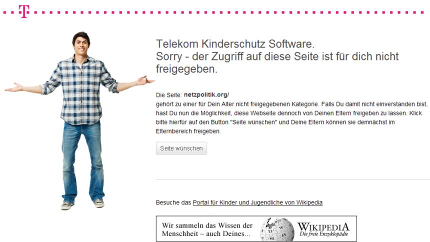 Telekom-Filter blockiert Netzpolitik.org