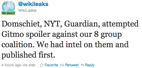 @wikileaks: Domschiet, NYT, Guardian, attempted Gitmo spoiler against our 8 group coalition. We had intel on them and published first.